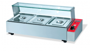 3 Division Bain Marie with Sneeze Guard
