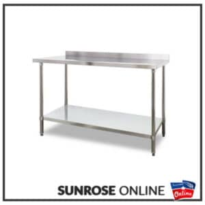 Stainless Steel Table with splash back – 1.8m