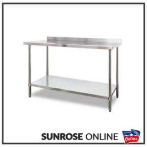 Stainless Steel Table with Splash Back – 1.5m