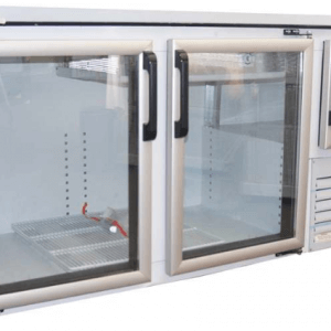 Two and a half door under counter fridge with pizza work top