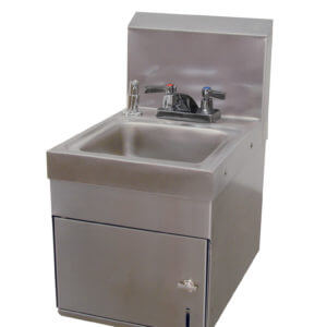 HAND WASHING SINK WITH PAPER TOWEL DISPENSER