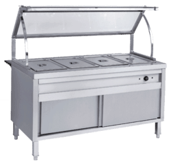 Electric 4 Division Bain Marie with sneeze guard