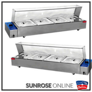 ELECTRICAL 4 DIVISION BAIN MARIE WITH SNEEZE GUARD HBM-24