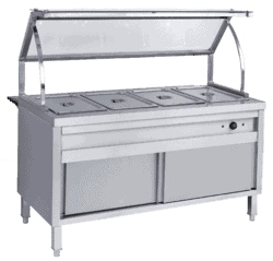 Electric 4 division bain marie with plate warmer