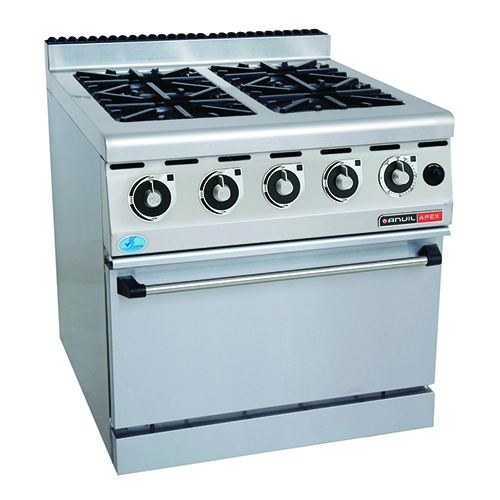 FOUR PLATE GAS STOVE WITH GAS OVEN